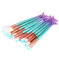 인어 브러쉬 11 개 메이크업 브러쉬 세트 다채로운 물고기 꼬리 분말 파운데이션 눈썹 아이 라이너 블러쉬 화장품 컨실러