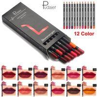 12 cores Pudaier Lip kit forro Kit Elegante Sexy Matte Lipliner lápis impermeável duradoura Maquiagem Cosméticos Lip Liner Pencil Set Beauty