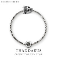 Perles Bracelet Chaîne Avec Le Crâne Roi Karma Bijoux Cadeau Pour Hommes Et Femmes En Argent Sterling 925 Fit Pendentifs et Charms