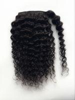 Новое Прибытие Человеческих Волос Pony tail шпилька Зажим На Свободной Волне Коричневый Бразильские Волосы Девственницы Глубоко вьющиеся волнистые Pony tail Наращивание Волос