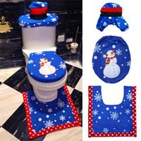 Santa Wc-sitzbezug Teppich Weihnachten Schneemann Badezimmer Set Niedlichen Cartoon Wc-sitzbezug Fußauflage für Hauptdekorationen