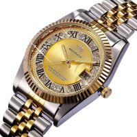 REGINALD Quartzo Assista Homens Datejust 18k Ouro Amarelo Fluted Bezel Diamante Pérola Dial Aço Inoxidável Relógio Luminoso
