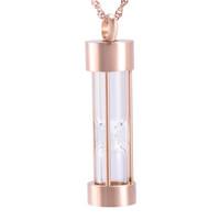 Cremación Joyas Reloj de arena Colgante Mantener Memorial Cenizas Cilindro de acero inoxidable Recuerdo Urna Collar Para Mujeres niña