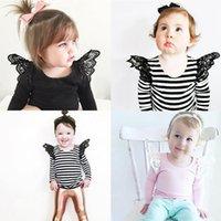 Printemps Automne Filles T-shirts pour Enfants T-shirts pour Filles T-shirts Manches en mouche Dentelle Enfants Tops Fille Vêtements 2018 Toddlers Tees