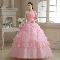 2017 Princess Pink Lace Flowers Ball Gown Quinceanera Dress ...