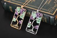 New Elegante Natural Gemstone Pingente Colares Para As Mulheres Meninas Chakra Jóias Gravel Beads Árvore Da Vida Retângulo Pingente Colares Presentes