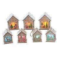 Рождественские украшения LED деревянный висячий дом рождественские украшения с огнями мини-модель Висячие Декор Украшения для дома