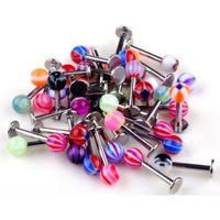 200 adet / grup Chic Yeni 18G Topu Dudak Kaş Dil Piercing Labret Yüzük Moda Vücut Takı Erkek Kadın Toptan