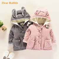 2018 new winter cotton clothing rabbit ears children thick w...