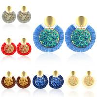 Nuovi orecchini di paillettes nappine 6 colori Bohe Punk Moda etnica Multicolor Filati di cotone Orecchini a frangia a forma di ventaglio grande per le donne all'ingrosso
