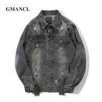 GMANCL Otoño Nuevos Hombres Vintage Agujeros Streetwear Chaquetas de  Mezclilla Hip hop Carta impresa Destrucción Ocasional d19dd5219fc
