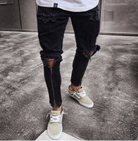 Men Hiphop Ripped Jeans Zipper Design Draped Holes Long Pencil Pants Skinny Trousers