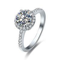 Оптовая цена 0.5 карат классический обручальное кольцо Сона синтетический алмаз для женщин 925 серебро отличный круглый сердце Pattern ювелирные изделия