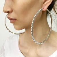 Livraison gratuite 80mm Diamètre Big cristal Boucles d'oreilles strass Boucles d'oreilles Bijoux Déclaration pour les femmes de mariage Brincos