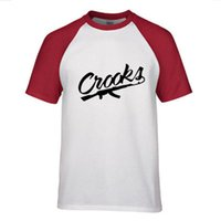 Summer Raglan Shoulder Men T Shirt Letter Crooks Printed Cot...