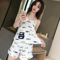 a7e8a12643 Wholesale ladies pyjamas online - Women Sexy Sleepwear spaghetti strap Two  Piece Set Pyjamas Top and