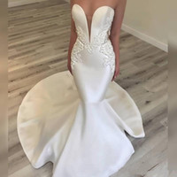 Elegant Satin 2019 Mermaid Wedding Dresses Sexy Sweetheart L...