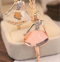 DHL Elmas Kazak Kolye Kızlar Boho Bijoux Altın Kaplama Kristal Bale Kız Bildirimi Kolyeler Kadınlar Için Düğün Hediyesi