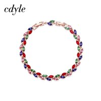 Cdyle Crystals from Bracelets Chic Mixed Color Leaves Shaped...