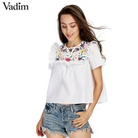 Gros-Vadim femmes doux volants floral broderie chemises à manches courtes O cou blouse dames casual été marque tops blusas DT1161