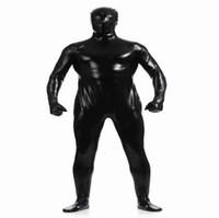 (MZS021) Collants métalliques brillants noirs pour les costumes classiques d'halloween Costumes unisex d'origine fétiche Zentai