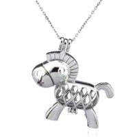 الفضة الجمال لطيف الحصان حمار الجوف النفط الناشر المنجد المرأة الروائح الخرز بيرل المحار قفص قلادة قلادة-بوتيك هدية