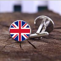 Gemstone cuff jóias de Inglaterra, Chile, bandeira nacional do Reino Unido padrão, estilo criativo abotoaduras