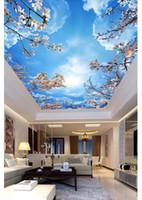3d papel de parede personalizado foto teto mural papel de parede céu Azul nuvens brancas flor de cerejeira zenith teto mural papel de parede para paredes 3d adesivo