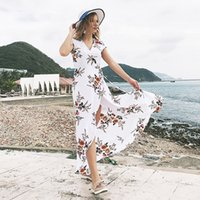 Women Beach Long Dress Chiffon 2018 Summer Casual Boho Elega...