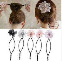 Frau Blume Donuts Twist Stirnband Magie Haarknoten Maker DIY Frisur Werkzeug Perle Französisch Knospe Dish Haarschmuck Süße Haarband