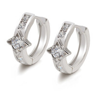 (386E) White Gold Plated Earrings Hoop For Women Daily Clear...