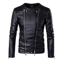 Leather Jackets Men colarinho Motorcycle Jackets Men Outono Slim Fit multi Zippers jaquetas e casacos Homens