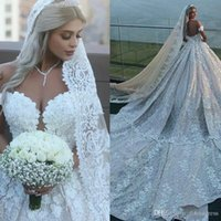 Plus Size Luxury Lace Ball Gown Wedding Dresses Off Shoulder...