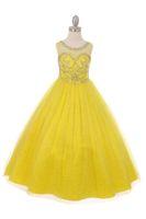 Güzel Sarı Yeşil Pembe Tül Jewel Boncuk Çiçek Kız Elbise Kız 'Pageant Elbiseler Doğum Günü Tatil Elbiseler Özel Boyut 2-14 FF727056