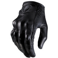 Top Guantes Fashion Glove real Leather Full Finger Black mot...