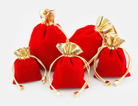 HOT RED 100pcs lot 7x9cm 9x12cm Velvet Beaded Drawstring Pouches Jewelry Gift Pouch drawstring Bags For Wedding favors,beads