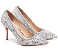 2018 Кристалл украшен цветочный дизайн острым носом неглубокие насосы женщины свадьба подружек невесты туфли на высоком каблуке Повседневная обувь Стилет Femmes
