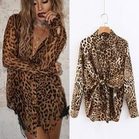 Leopard shirt de New Europe Fashion femmes col rabattu à manches longues en vrac Tops Blouse Lady Casual Shirts C3488