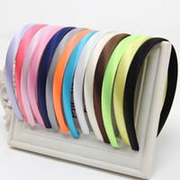 5 adet / grup Kızlar Kadınlar Için 1.5 cm Kafa Hoop Saç Toka Renkli Saten Kaplı Reçine Hairbands Şerit Kaplı Kafa Saç Aksesuarı