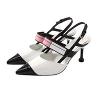 Spring Summer Patchwork Genuine Leather High Heels Sandals W...