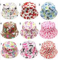 fiori Bambini Bacino prendisole Cap Cherry Love Heart Cappellini stampati floreali per bambini Primavera Estate UV Cappellino protettivo solare Cappello pescatore C3005