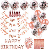 Rose Gold Happy Birthday Bunting Banner Balloons 18 21st 30 ...