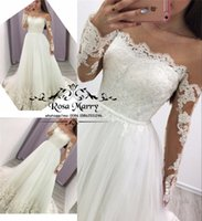 Sexy Plus Size Long Sleeves Wedding Dresses 2020 A Line Illu...