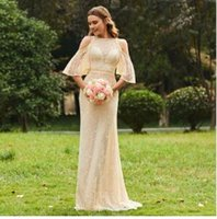 Tanpell champagne bridesmaid dress lace half sleeves floor length a line  gown women wedding party long custom bridesmaid dresses b450044dd8d9