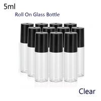 Portable 50pcs / lot 5ml (1/6 oz) MINI ROLL ON parfum de bouteille en verre PARFUM GLASS BOTTLES OIL ESSENTIEL Steel Roller ball (Transparent)