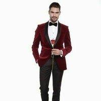 2018 Borgonha Velvet Homens ternos para casamento Ternos xaile lapela noivo Custom Made Smoking Slim Fit Best Man Blazer 2 Pieces Groomsmen formais