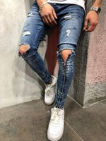 Men Triangle Holes Jeans Biker Long Zipper Design Ripped Pen...