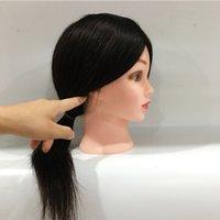 Real Head Hair Head Dolls for Hairdresser 16 '' Black Training Head Professional Mannequin può essere arricciato / tinto