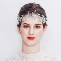 Cabeza nupcial hecha a mano vid - joyería de boda bonita perla hoja cristal perla pelo flor floral halo de boda accesorios