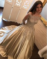 2018 Beaded Pearls Ball Gown Wedding Dresses Bateau Neck Off...
